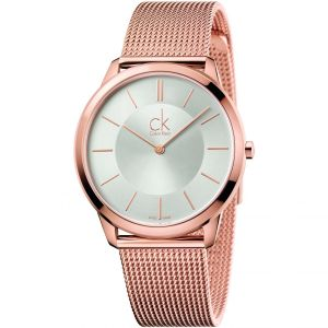 Calvin Klein Mens Minimal Watch, Rose Gold Tone