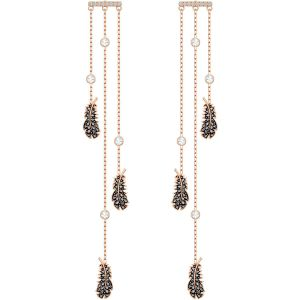 Swarovski Naughty Chandelier Pierced Earrings, Black, Rose Gold Plating