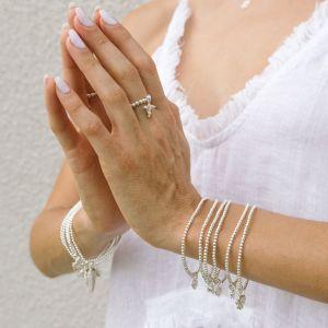 Annie Haak Santeenie Silver Charm Bracelet - Cream Daisy