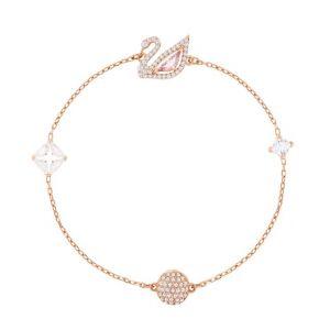 Swarovski Dazzling Swan Bracelet, Pink, Rose Gold Plating