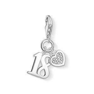 Thomas Sabo Charm Pendant, Silver Diamond Number 18