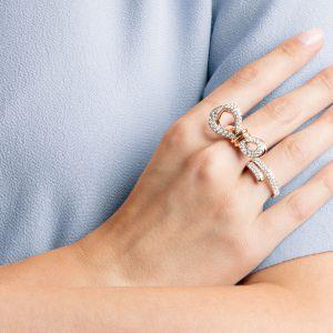 Swarovski Lifelong Bow Double Ring, White, Mixed Plating