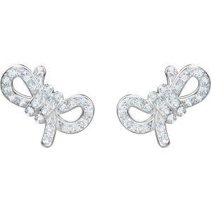 Swarovski Lifelong Bow Pierced Earrings, White, Rhodium Plating