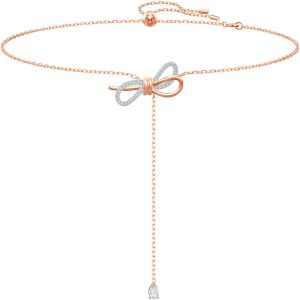 Swarovski Lifelong Bow Y Necklace, White, Mixed Plating