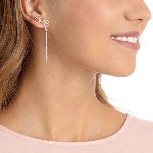 Swarovski Lifelong Bow Pierced Earrings, White, Mixed Plating