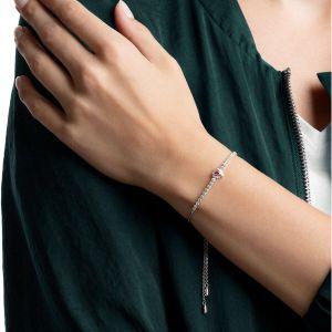 Swarovski One Bracelet, Red, Rhodium Plating