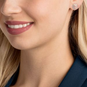 Swarovski One Stud Pierced Earrings, Multi-coloured, Rose Gold Plating