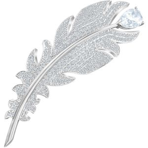 Swarovski Nice Brooch, White, Rhodium Plating