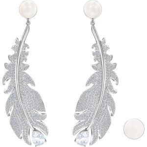 Swarovski Nice Clip Earrings, White, Rhodium Plating