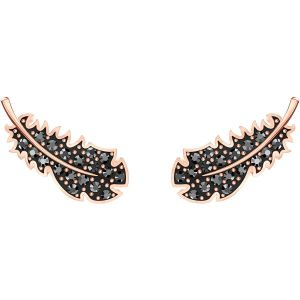 Swarovski Naughty Jet Pierced Earrings, Rose Gold Plating