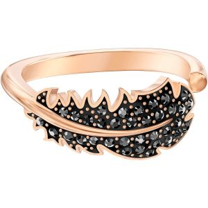 Swarovski Naughty Motif Ring, Black, Rose Gold Plating