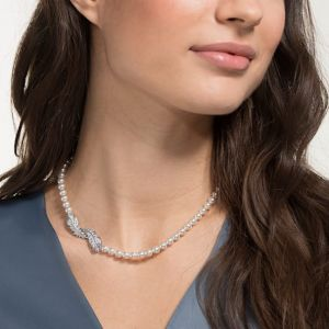 Swarovski Nice Pearl Necklace, White, Rhodium Plating