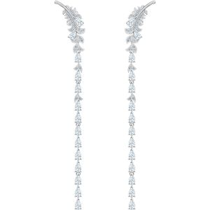 Swarovski Nice Long Pierced Earrings, White, Rhodium Plating