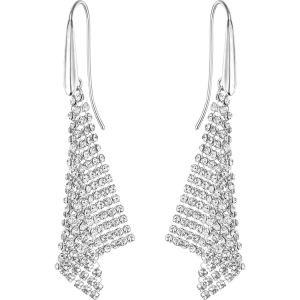 Swarovski Fit Pierced Earrings, Small, White, Rhodium Plating