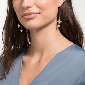 Swarovski Symbolic Chain Pierced Earrings, White, Rose Gold Plating