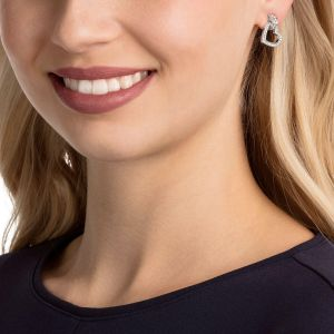 Swarovski Lovely Pierced Earrings, White, Rhodium Plating
