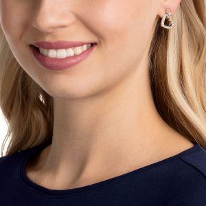 Swarovski Lovely Pierced Earrings, White, Rose Gold Plating
