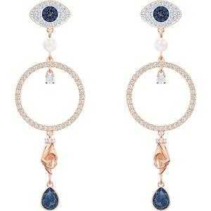 Swarovski Symbolic Hoop Pierced Earrings, Multi-Coloured, Rose Gold Plating
