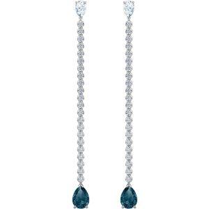 Swarovski Vintage Pierced Earring, Blue, Rhodium Plating