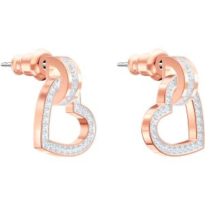 Swarovski Lovely Pierced Earrings, White, Rose Gold Plating