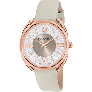 Swarovski Crystalline Glam Watch, Leather Strap, Grey, Rose Gold Tone