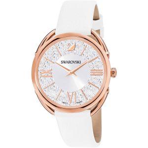 Swarovski Crystalline Glam Watch, Leather Strap, White, Rose Gold Tone