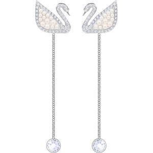 Swarovski Iconic Swan Pierced Earrings, White, Rhodium Plating