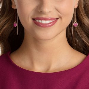 Swarovski Ginger Pierced Earrings, Pink, Rose Gold Plating
