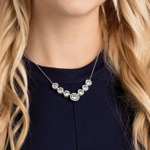 Swarovski Sparkling Dance Necklace, White, Rhodium Plating
