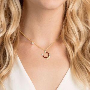 Swarovski Lucky Goddess Horse Necklace, Multi-coloured, Gold Plating