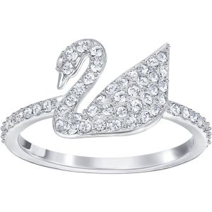 Swarovski Iconic Swan Ring, White, Rhodium Plating