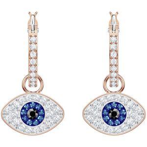 Swarovski Duo Evil Eye Hoop Earrings, Multi-coloured, Rose Gold Plating