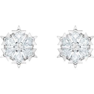 Swarovski Magic Pierced Earrings, White, Rhodium Plating