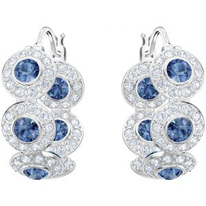 Swarovski Angelic Hoop Pierced Earrings, Teal, Rhodium plating