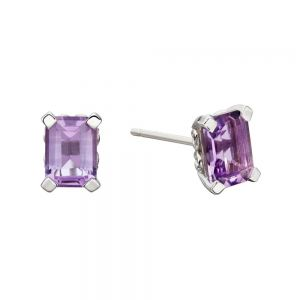Elements Gold 9ct White Gold Amethyst Rectangle Earrings