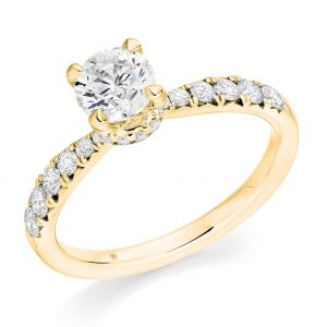 Round Brilliant Solitaire Ring with Diamond Collar and Band