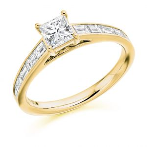 Princess Cut Diamond Solitaire with Baguette Shoulders