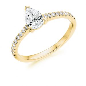 Pear Cut Diamond Solitaire with Diamond Band