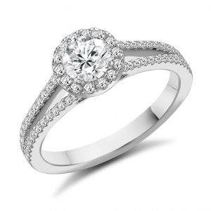 Round Brilliant Halo Ring with Split Shank