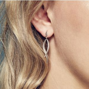 Kit Heath Entwine Twine Twist with CZ Drop Earrings