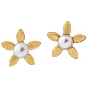 byBiehl Forget Me Not Pearl Gold Stud Earrings