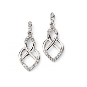 Elements Gold 9ct White Gold Open Pattern Earrings GE2085