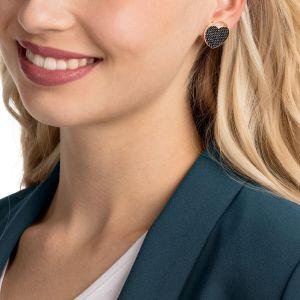 Ginger Stud Pierced Earrings, Grey, Rose Gold Plating