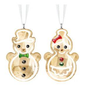Swarovski Crystal Gingerbread Snowman Couple Ornament