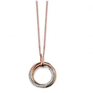 Elements Gold 9ct Rose Gold and Diamond Open Circle Pendant GP2004