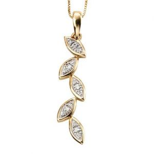 Elements Gold 9ct Yellow Gold Leaf Diamond Pendant