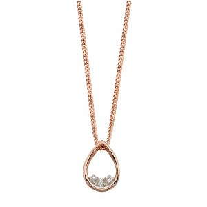 Elements Gold 9ct Rose Gold Teardrop Dainty Diamond Pendant