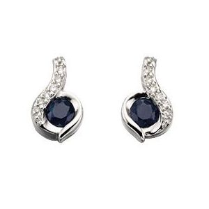 Elements Gold 9ct White Gold Blue Sapphire and Diamond Swirl Earrings GE893L