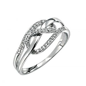 Elements Gold 9ct White Gold Diamond Loopy Ring GR288