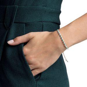 Swarovski Subtle Bracelet, Green, Rhodium Plating